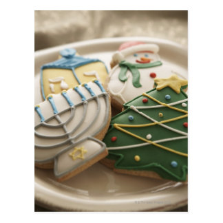 Christmas and Hanukkah cookies on plate, Post Cards