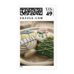 Christmas and Hanukkah cookies on plate, Stamp