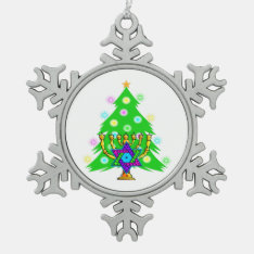 Christmas And Hanukkah Interfaith Snowflake Pewter Christmas Ornament at Zazzle