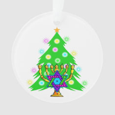 Christmas And Hanukkah Ornament at Zazzle