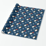 Christmas and Hanukkah penguin wrapping paper