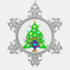 Christmas And Hanukkah Snowflake Pewter Christmas Ornament at Zazzle