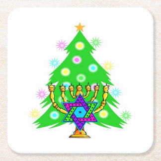Christmas and Hanukkah Square Paper Coaster