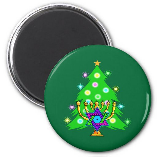 Christmas and Hanukkah Together Fridge Magnet