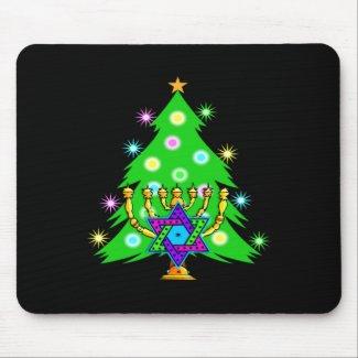 Christmas and Hanukkah Together mousepad