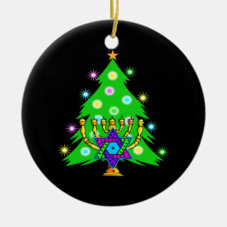 Christmas and Hanukkah Together Double-Sided Ceramic Round Christmas Ornament