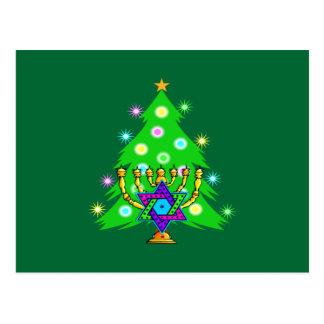 Christmas and Hanukkah Together Post Card