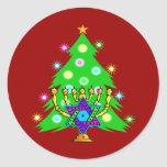 Christmas and Hanukkah Together Classic Round Sticker