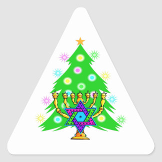 Christmas and Hanukkah Together Triangle Sticker