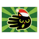 Hand shaped Christmas and Holiday Cat Santa milk and cookies Card