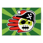 Hand shaped Christmas and Holiday Pirate Santa Card