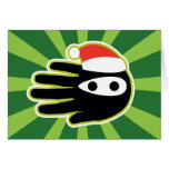 Hand shaped Christmas and Holiday Santa is a Ninja Card