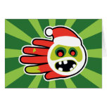 Hand shaped Christmas and Holiday Zombie Santa no cookies Card