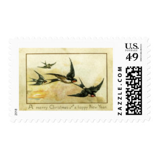 Christmas and New Year Swallows Stamps