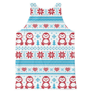 Christmas and Winter knitted pattern All-Over Print Tank Top