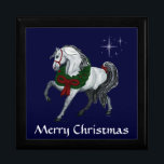 """Christmas Andalusian Horse Gift Box<br><div class=""""desc"""">Fine Illustrated Andalusian horse high stepping along with a green and red wreath and a red ribbon. Stars twinkle behind him.  Beneath it says Merry Christmas in white,  text and background color are customizable.  illustrated by T.A.Paxton</div>"""
