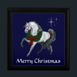 "Christmas Andalusian Horse Gift Box<br><div class=""desc"">Fine Illustrated Andalusian horse high stepping along with a green and red wreath and a red ribbon. Stars twinkle behind him.  Beneath it says Merry Christmas in white,  text and background color are customizable.  illustrated by T.A.Paxton</div>"