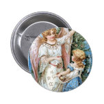Christmas Angel and Child Pinback Buttons