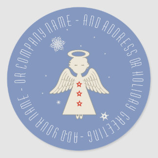 Christmas Angel and Greeting Classic Round Sticker