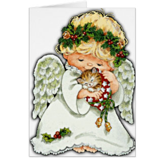 Christmas Angel And Kitten Card