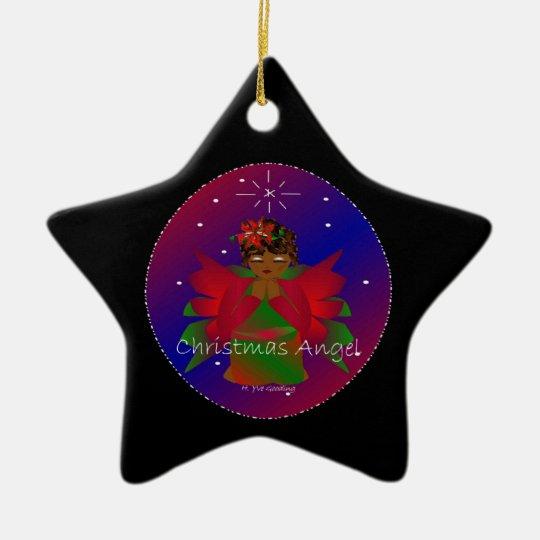Christmas Angel Baby Around the World In Black II Ceramic Ornament