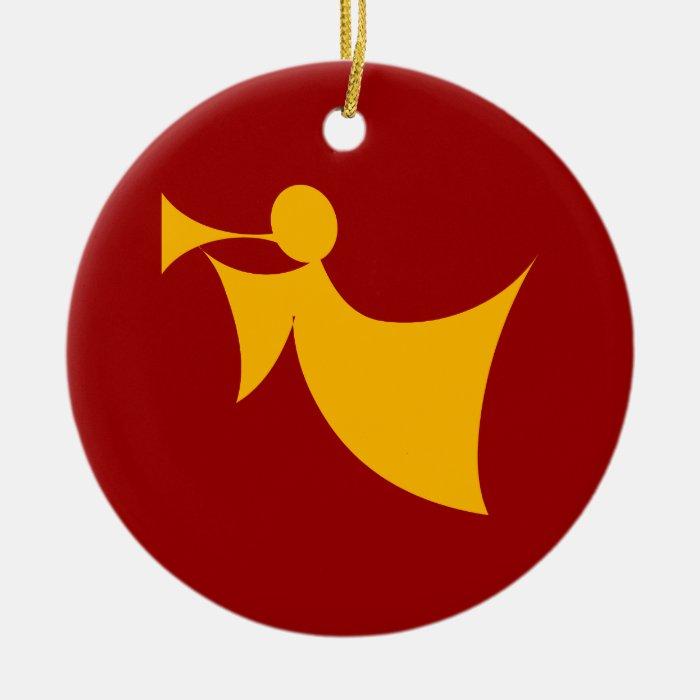 Christmas Angel Blowing Trumpet Ceramic Ornament