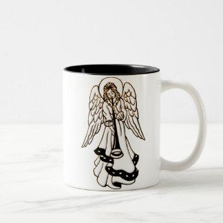 Christmas Angel Brass Trumpet Two-Tone Coffee Mug