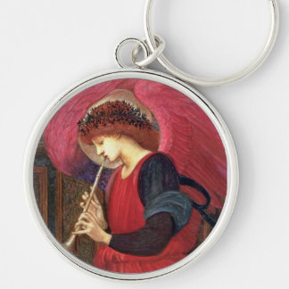 Christmas Angel  - Burne-Jones - Red Silver-Colored Round Keychain