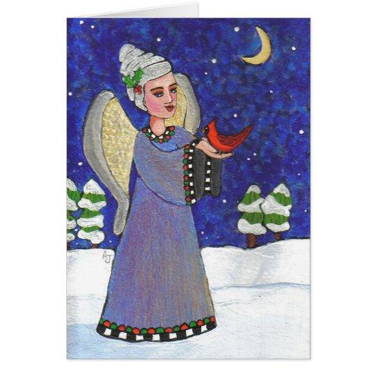 Christmas Angel & Cardinal - Holiday card