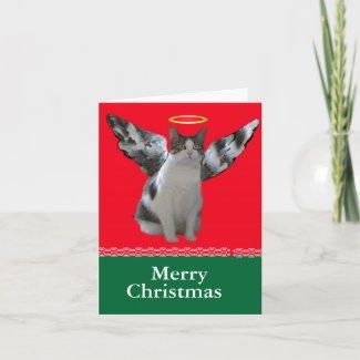 Christmas Angel Cat Card card