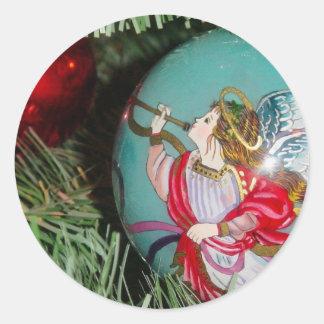 Christmas angel - christmas art -angel decorations classic round sticker