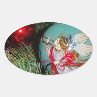 Christmas angel - christmas art -angel decorations oval sticker