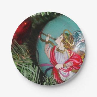 Christmas angel - christmas art -angel decorations paper plate