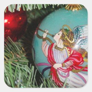 Christmas angel - christmas art -angel decorations square sticker