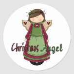 Christmas Angel D1 Design Round Stickers