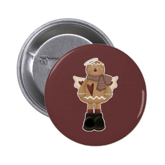 christmas angel gingerbread man 2 inch round button