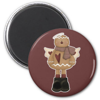 christmas angel gingerbread man 2 inch round magnet