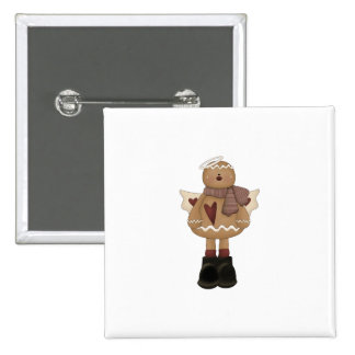 christmas angel gingerbread man 2 inch square button