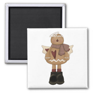 christmas angel gingerbread man 2 inch square magnet