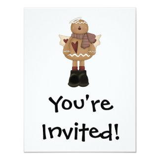 christmas angel gingerbread man 4.25x5.5 paper invitation card