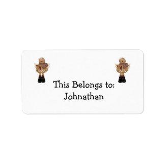 christmas angel gingerbread man address label