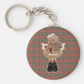 christmas angel gingerbread man basic round button keychain