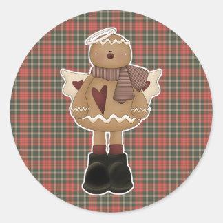 christmas angel gingerbread man classic round sticker
