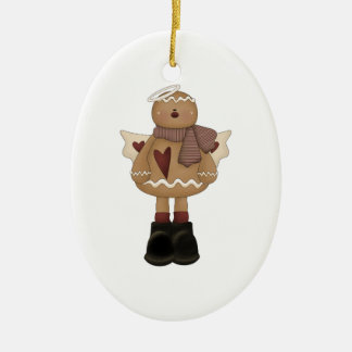 christmas angel gingerbread man Double-Sided oval ceramic christmas ornament