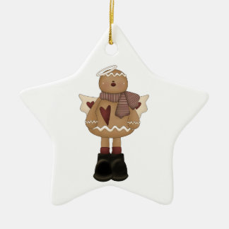 christmas angel gingerbread man Double-Sided star ceramic christmas ornament