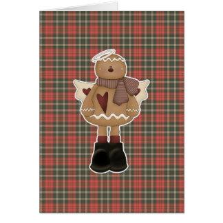 christmas angel gingerbread man greeting card