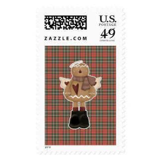 christmas angel gingerbread man postage stamps