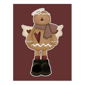 christmas angel gingerbread man postcard