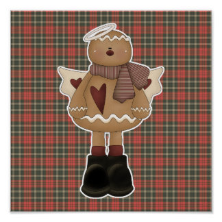 christmas angel gingerbread man poster