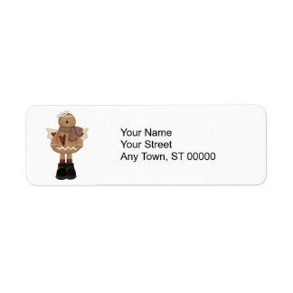 christmas angel gingerbread man return address label